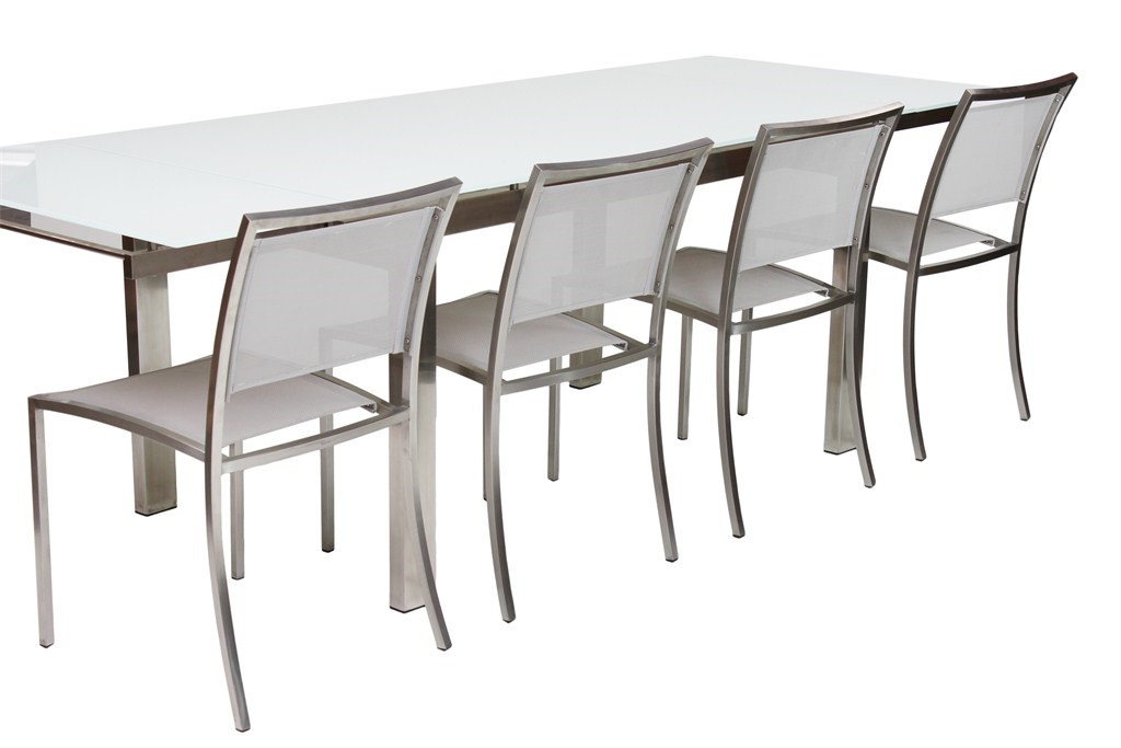 extendable outdoor dining sets. hanna dining brush-extendable-sapphire white matt glass extendable outdoor sets
